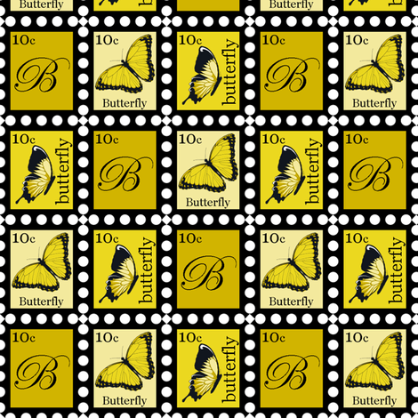 Large Yellow Butterfly Stamps fabric by fig+fence on Spoonflower - custom fabric