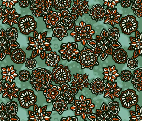 Flowers orange fabric by lilichi on Spoonflower - custom fabric