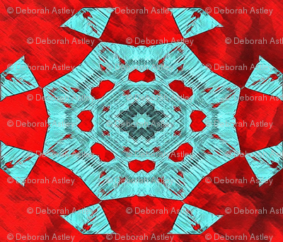 Turquoise Star on Red