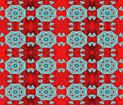 Turquoise Star on Red fabric by anniedeb on Spoonflower - custom fabric