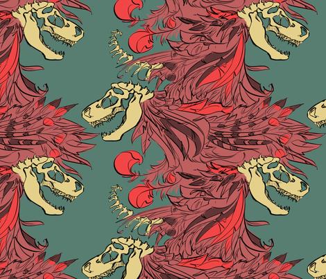 trexbonesandfeathers fabric by racheljones on Spoonflower - custom fabric
