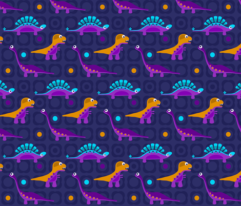 Delightful Dinos - Blue fabric by run_quiltgirl_run on Spoonflower - custom fabric
