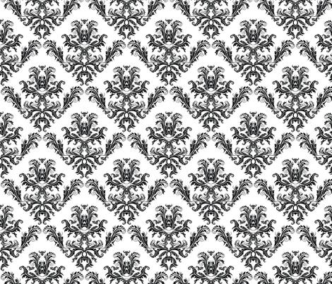 Pineapple Damask Black fabric by flyingfish on Spoonflower - custom fabric