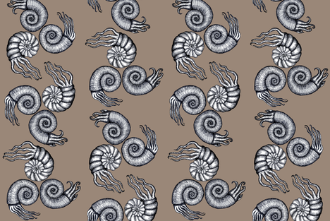 Ammonites fabric by poshcrustycouture on Spoonflower - custom fabric