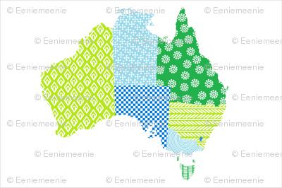 Australia Teatowel Blue Green
