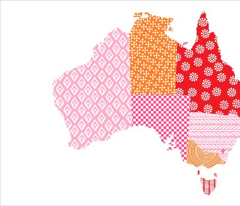 Australia Teatowel Pink Red Orange fabric by tinamhall on Spoonflower - custom fabric