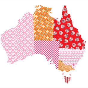 Australia Teatowel Pink Red Orange