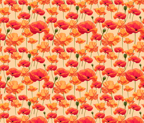 Wizard of Oz - Orange Poppies fabric by joyfulrose on Spoonflower - custom fabric