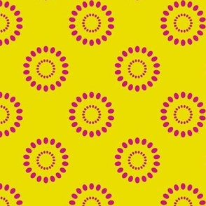Dotted Flowers- Acid Yellow