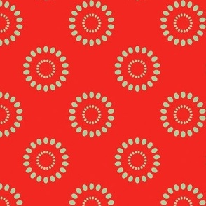 Dotted Flowers- Red