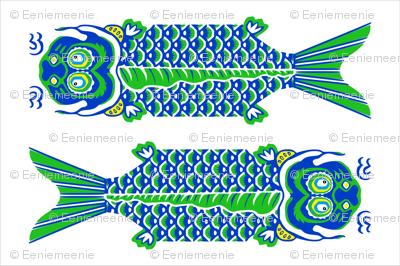 2 Japanese Fish Teatowel Blue