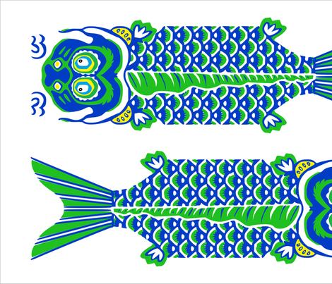 2 Japanese Fish Teatowel Blue fabric by tinamhall on Spoonflower - custom fabric