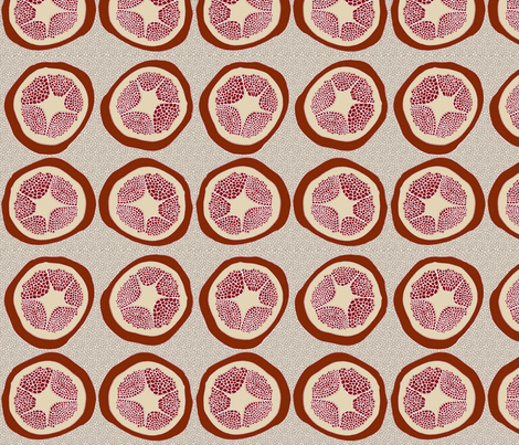 Four Pomegranates with pips fabric by wiccked on Spoonflower - custom fabric