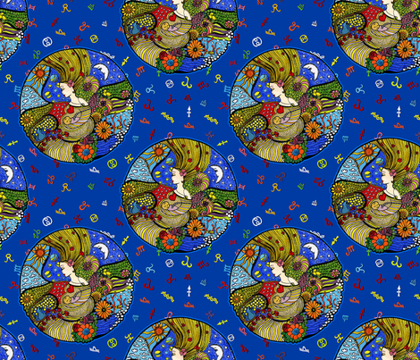 Circle of elements fabric by dinorahaleatelier on Spoonflower - custom fabric