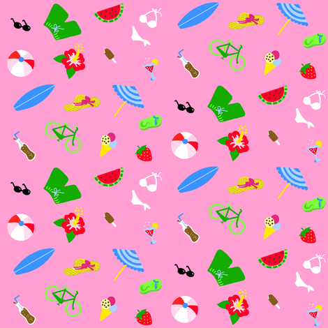 Summertime Pink Small fabric by johanna_lange_designs on Spoonflower - custom fabric
