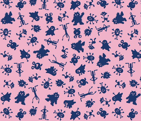 I love Monstas Dark Blue and Purple fabric by johanna_lange_designs on Spoonflower - custom fabric