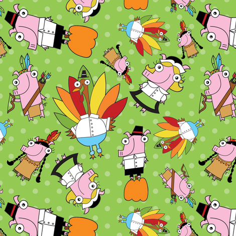 Thanksgiving Crew fabric by pigandpumpkin on Spoonflower - custom fabric