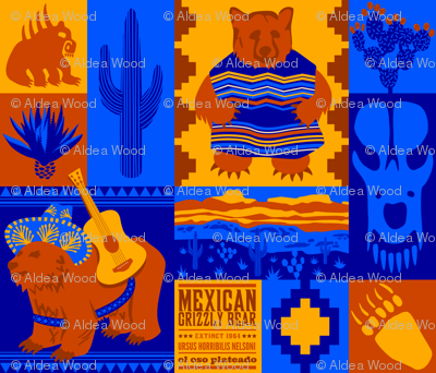 """""""Oso"""" sad: Extinct Mexican Grizzly Bear Cheater Quilt"""