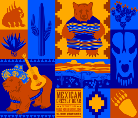 """""""Oso"""" sad: Extinct Mexican Grizzly Bear Cheater Quilt fabric by aldea on Spoonflower - custom fabric"""