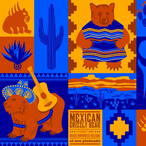 """Oso"" sad: Extinct Mexican Grizzly Bear Cheater Quilt"