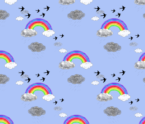 rainbows_and_rainclouds_with_Elli fabric by vinkeli on Spoonflower - custom fabric