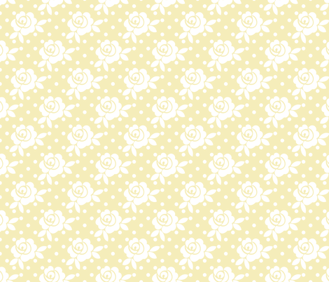 vintage_rose_yellow fabric by christiem on Spoonflower - custom fabric