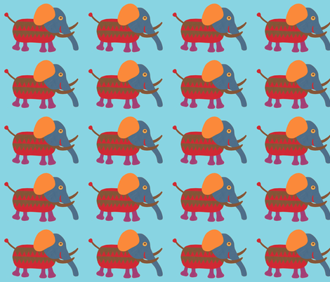 mixed up mammoth blue fabric by weebeastiecreations on Spoonflower - custom fabric