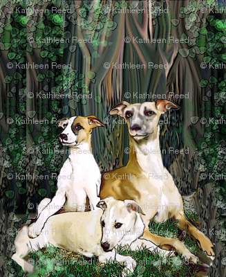 Whippets in The Woods fabric
