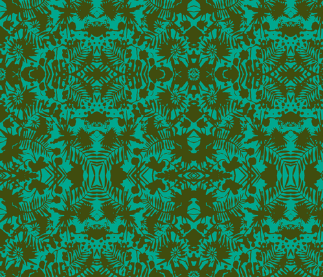 Jungle Damask turquoise fabric by flyingfish on Spoonflower - custom fabric