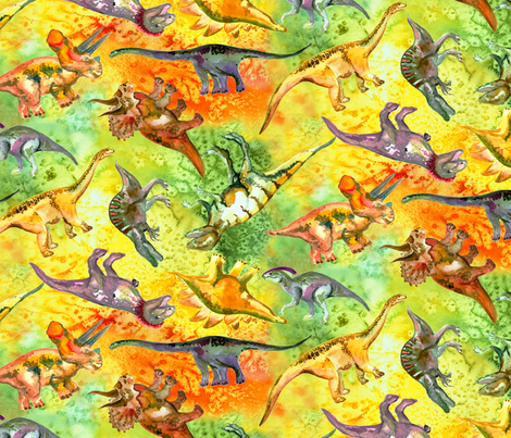 Watercolor Dinosaur fabric by beebumble on Spoonflower - custom fabric