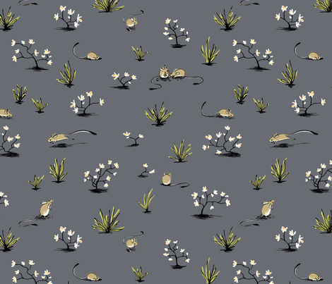 Long-tailed Hopping Mouse in Grey fabric by meduzy on Spoonflower - custom fabric