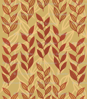 Layered Minoan grasses on yellow ocher