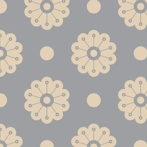Polka Flowers- Grey