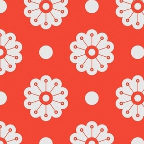 Polka Flowers- Tomato
