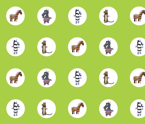 Mooglee Animals Circle on Lime fabric by smuk on Spoonflower - custom fabric