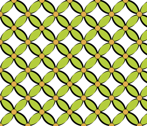 Geometric Petals_green fabric by pearl&phire on Spoonflower - custom fabric