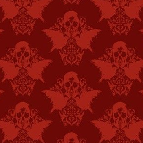Skull and Raven Damask - blood red