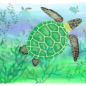 Sea turtle in the coral