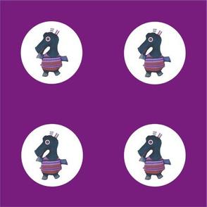 Mooglee Hippo Circle on Violet