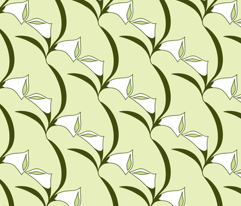 Deco Calla Lily white fabric by holly_helgeson on Spoonflower - custom fabric