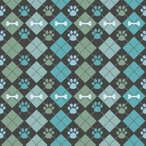 Teal Paw and Bone Argyle