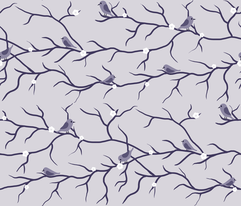Light Purple Birds on Branches fabric by shelleymade on Spoonflower - custom fabric