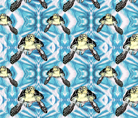 Turtles_in_ the_Blue fabric by art_on_fabric on Spoonflower - custom fabric