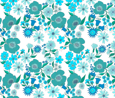 douce_fleur_turquoise_spéciale_Anne-Marie_McMahon fabric by nadja_petremand on Spoonflower - custom fabric