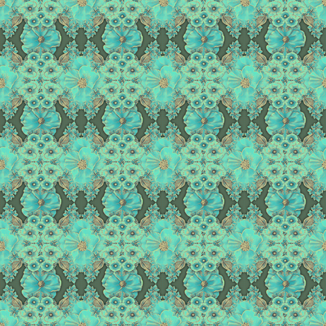 Floraplay: Antique Aqua - small fabric by tallulahdahling on Spoonflower - custom fabric