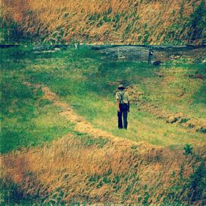 Amish Walking Beside Hay Field