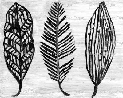 Feather Trio Black and White