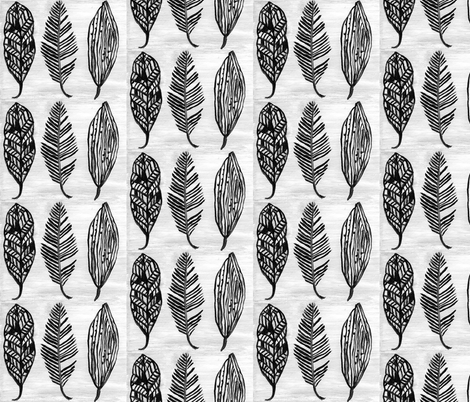 Feather Trio Black and White fabric by kristen_fagan_art_and_design on Spoonflower - custom fabric