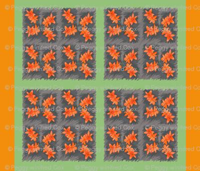Orange Daylillies Large Blocks
