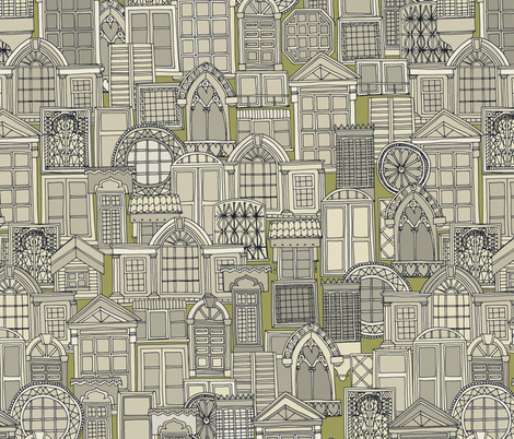 windows green fabric by scrummy on Spoonflower - custom fabric